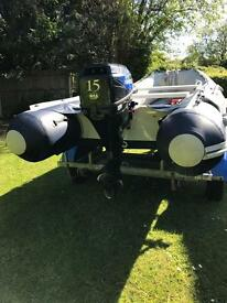 Honwave T35-AE2 Inflatable Boat, Dinghy, RIB with 4 Stroke 15hp Outboard and Trailer