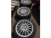 "Set of 4 x 17"" Alloys. Multi fit. 4x100 and 4x108. Renault BMW Honda Ford etc."