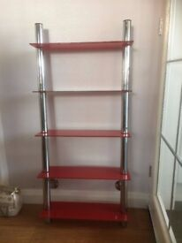 Red Glass wall mounted shelving