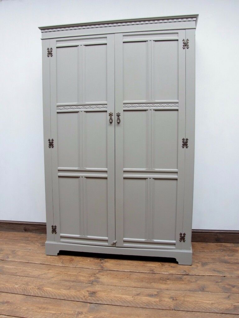 Vintage Painted Oak Wardrobe