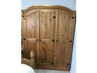 Solid 3 door Mexican Pine Wardrobe with hanging rail and shelves