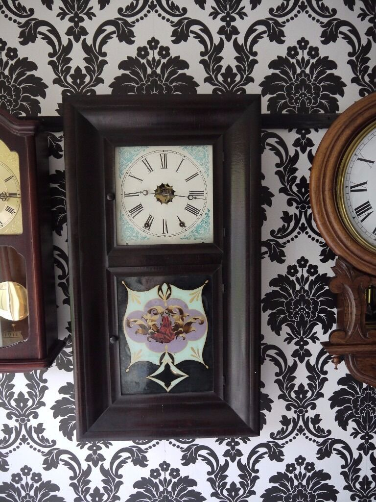 American weight driven antique wall clock in excellent working american weight driven antique wall clock in excellent working order fully serviced amipublicfo Images