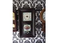 AMERICAN WEIGHT DRIVEN ANTIQUE WALL CLOCK, IN EXCELLENT WORKING ORDER FULLY SERVICED