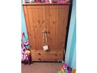 Pine single bed and wardrobe