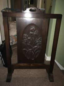 Stained wooden fire guard