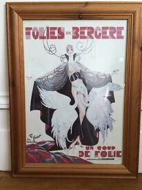 XL Vintage French Poster with Frame