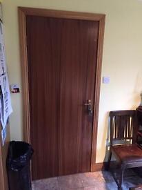 Sapele metric fire door, handles and hinges