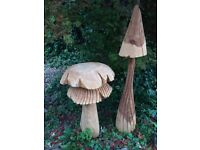 Beautiful carved pine & ash wooden garden mushrooms large impressive sculptures