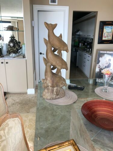 TALL STATUE OF 3 DOLPHINS! Vintage Unique Hand Carved Wood Sculpture BIN!
