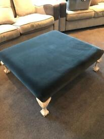 Large Grey Velvet Claw Foot Stool
