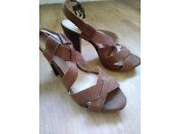 Dune tan leather heels, size 6