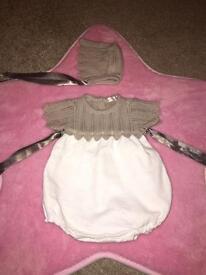 Spanish Baby Girls Romper & Bonnet 0-3 Months