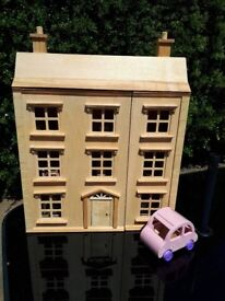 Wooden Dolls House, car, dolls & 8 rooms of furniture