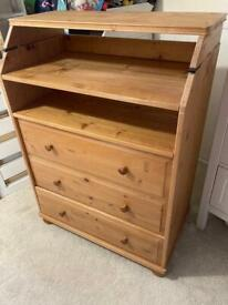 Wooden chest of drawers with changing table & bookshelf attachment