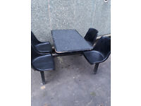 metal framed canteen table and chairs