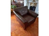 Leather Armchairs Chairs x2 (Pair) Dark Brown Marks & Spencer Club Style