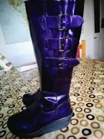 Ladies purple knee length boots