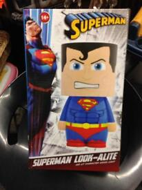 Superman look-alite night reading bedside table light lamp lego