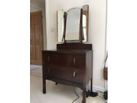 Two drawer vanity unit with mirrors