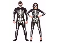 LADIES SKELETON / DAY OF THE DEAD FANCY DRESS OUTFIT SIZE S GREAT FOR HALLOWEEN PARTY