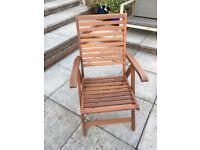 Garden wooden reclining chair