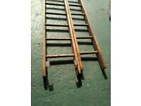 EXTENDABLE WOODEN LADDERS BOTH SECTIONS 12FT LONG