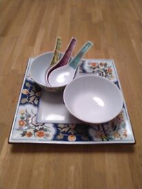Chinese plate, bowls and spoons central London bargain