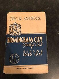 Birmingham city football club, 1947 handbook and club badge