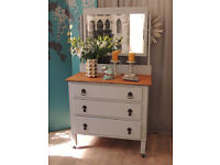 Shabby chic oak dressing table three drawers by Eclectivo