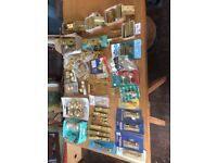 Brass miscellaneous hardware, all items unused . Collection Hadleigh Suffolk