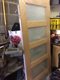 Brand new- still wrapped- LPD Internal Oak CONTEMPORARY Pre-Finished Frosted Glazed Door