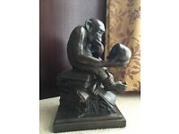 Bronze Charles Darwin Antique monkey