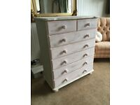 Beautiful chest of drawers, painted in chalky clotted cream/china rose paint.