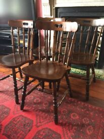 Four spindle back wooden dining/kitchen chairs