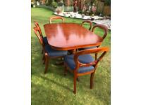 Regency style extending dining table with six chairs (can deliver)