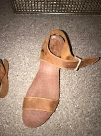Brown Leather Sandals - Size 6