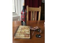 Wine record journal, corkscrew, wine bib and glass stoppers