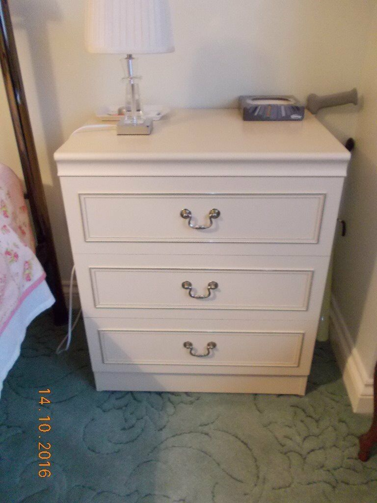 Wide Chest of Drawers / Bedside Table (Chrome Inlay Detail)