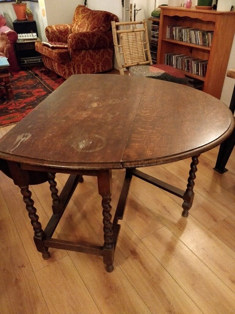 Beautiful Antique Oak Wood Folding Dining Table