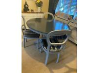 Shabby chic solid table and 4 chairs