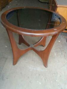 Retro MID-CENTURY ROUND SIDE TABLE solid wood & Smoked Glass Top OAKVILLE