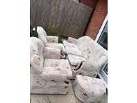 Used sofa, 2 one seaters, 1 three seater and foot stool, very good condition .
