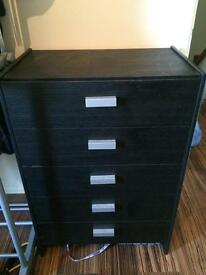 Black wooden chest of draws