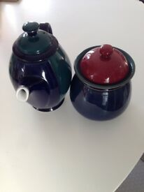 In excellent condition a Denby Regatta coffee pot and Denby Harlequin storage jar/barrel/pot