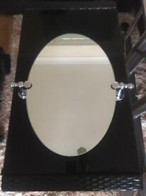 Oval bathroom toilet mirror