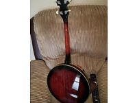 Barnes and mullen 17 fret banjo.with gigbag.pickup fitted as new