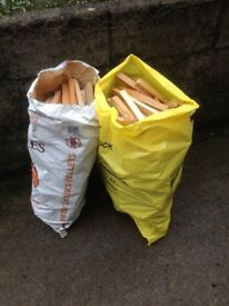 Bags of kindling firewood
