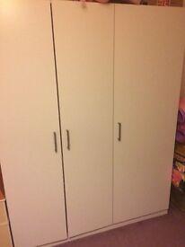 White 3 door wardrobe