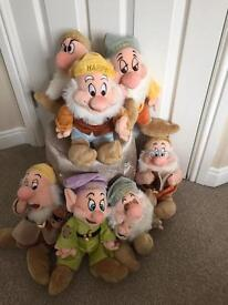 Disney Store 7 Dwarf soft toys- like new!