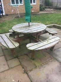 Large picnic table and bench